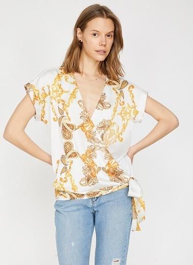 Koton Koton Desenli  T-Shirt Sarı